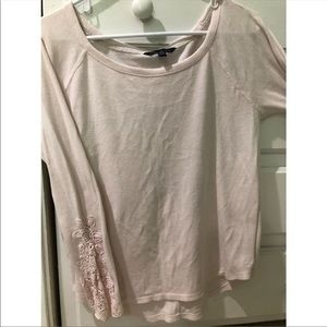 Long sleeve American eagle waffle top
